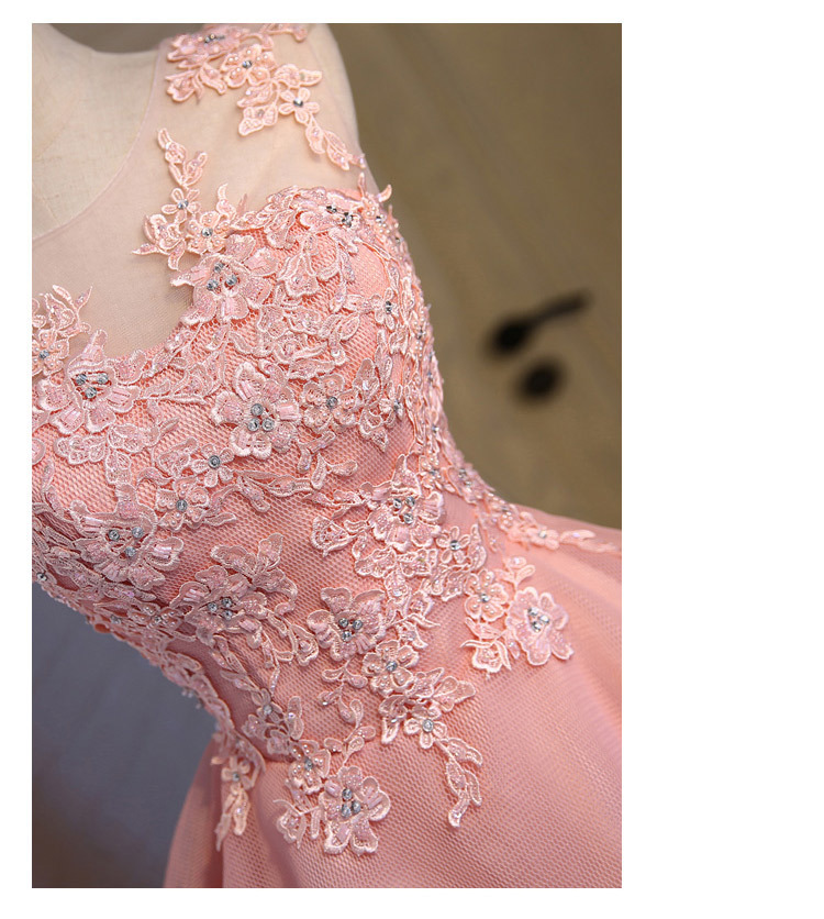 Short Evening Dress 2018 Sweet Pink O-neck Lace Ball Gown New Bride Party Formal Dress Custom Homecoming Dresses Robe De SoireeC 8