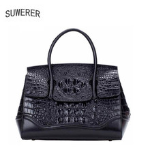 SUWERER new Genuine Leather women bags for women Crocodile pattern luxury handbags women bags designer women leather handbags