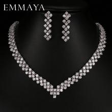 Emmaya ใหม่ Zircon คริสตัล Rhinestone หินต่างหูสร้อยคอชุดเครื่องประดับงานแต่งงานใหม่ผู้หญิงจัดส่งฟรี