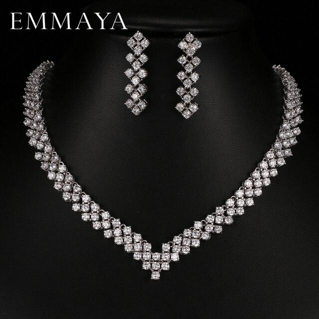 Emmaya boucles doreilles en cristal Zircon, strass, boucles doreilles en cristal, collier, bijoux, mariage, nouvelle collection, livraison gratuite pour femmes, nouvelle collection