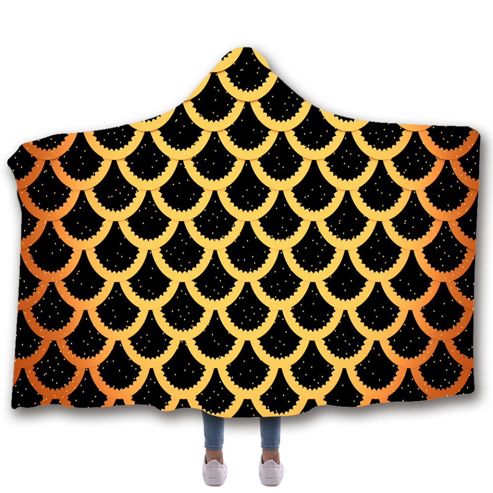 Mermaid Hooded Blanket For Adults Childs 3D Printed Wearable Winter Europe Soft Throw Home Travel Picnic