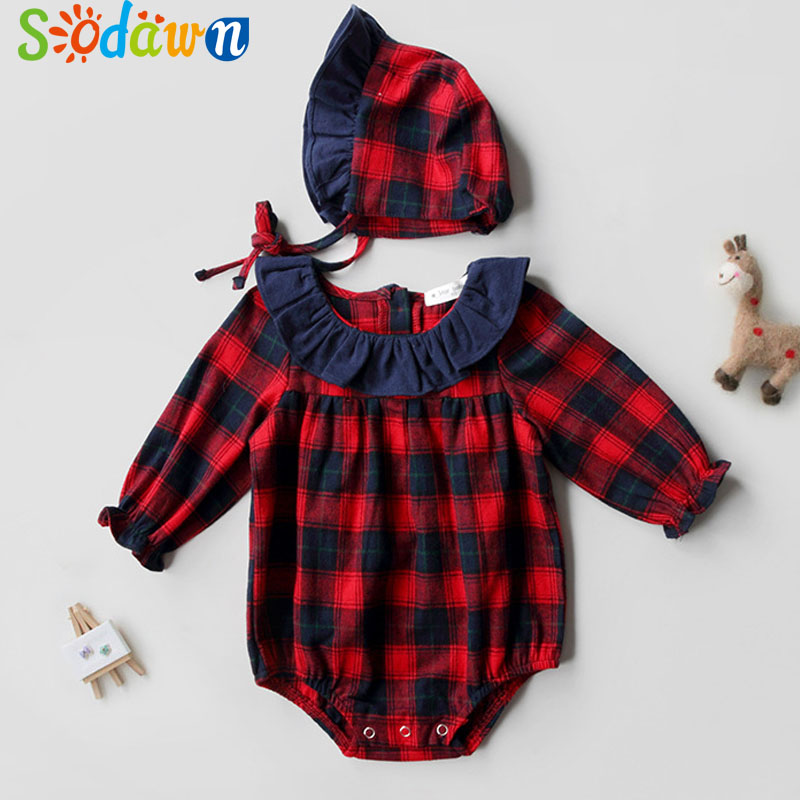 Sodawn Infant Clothing Autumn Winter Childrens Clothing Girls Baby Long Sleeve Jumpsuit+Hat Suit Plaid Cotton Crawling Clothing