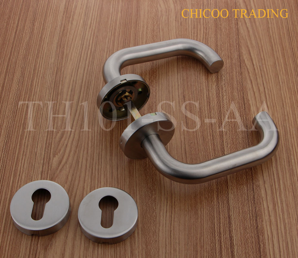 hot sale stainless steel 304 door handle, lever handle,entry door handle hot sale silver stainless steel