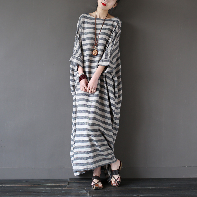 9950ed3905d10 SCUWLINEN 2019 Summer Women Dresses Vintage Striped Batwing Sleeve Maxi  Long Loose Plus Size Linen Dress Casual Flax Robe S193-in Dresses from  Women's ...