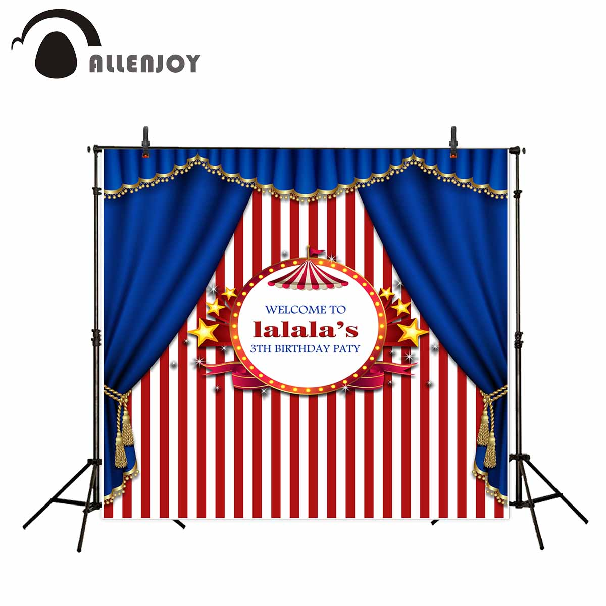Allenjoy photography backdrop circus birthday tent stars party red blue background photocall fotografia photobooth allenjoy backdrop spring background green grass light bokeh dots photocall kids baby for photo studio