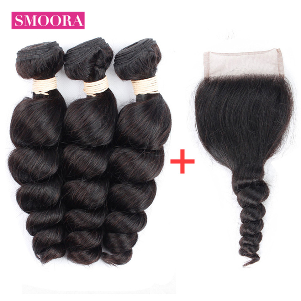 Smoora Brazilian Loose Wave 3 Bundles Human Hair With Lace Closure 4*4 Free Part 4 Pcs/Lot Loose Bundles With Closure Non Remy
