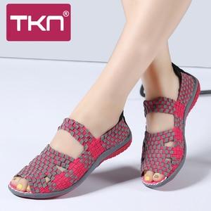 Image 5 - TKN 2019 קיץ נשים דירות סנדלי נעלי נשים ארוג שטוח נעלי גבירותיי רב צבעים להחליק על גבירותיי סנדלי מוקסינים נשיים 812