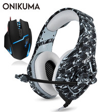 ONIKUMA Gaming Headset Casque PC Gamer Stereo Bass Headphones with Microphone for PS4/Xbox One Gamepad + Wired USB Gaming Mouse(China)