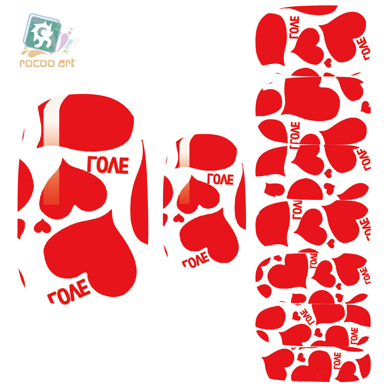 Rocooart K5682 2018 Water Transfer Nails Art Sticker Deed Red Love Hearts Manicure Decor Decals Wraps Stickers for Nail