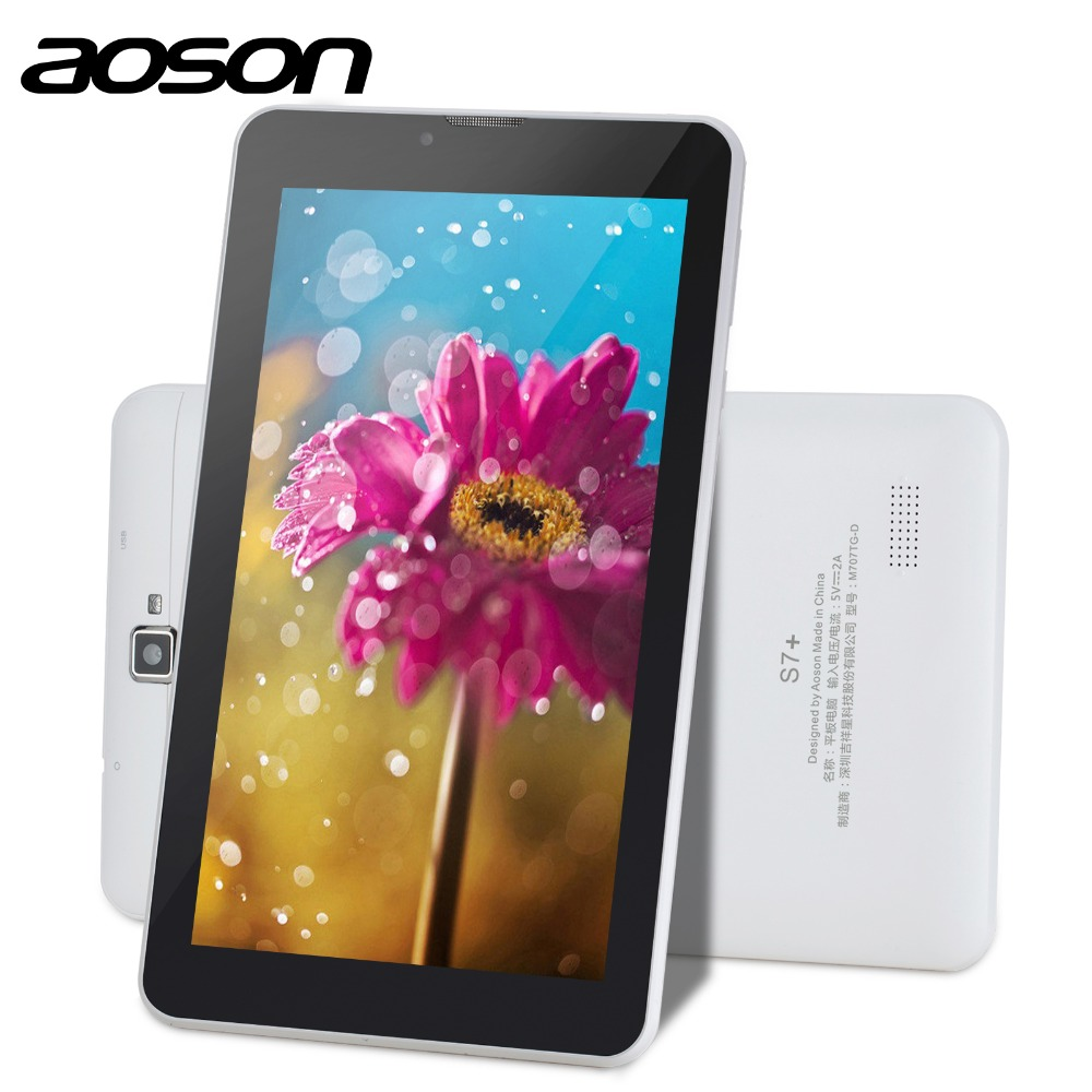 New 3G Aoson S7+ Android 7.0 Quad Core 7 inch Tablet PC 16GB+1GB IPS Dual Camera Phone Call Tablets GPS Bluetooth 7 8 10 10.1 hot irulu x6 3g phablet 7 android 7 0 slim tablet phone call quad core 1024x600 ips rom 16gb dual cam wireless fm gps 2800mah