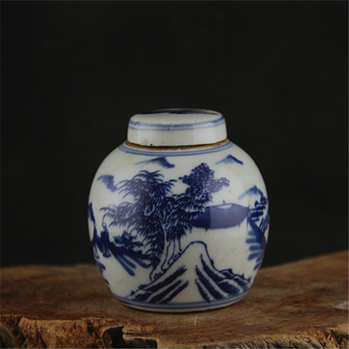 6 Antique QingDynasty Porcelain Pot,Blue And White Landscape Small Jar,Hand-painted Crafts,Decoration,Collection&Adornment