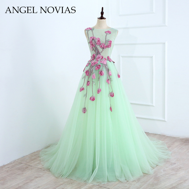 New Arrival Long Green Elegant Green Tulle Prom Dress 2018 Embroidery  Appliques Glitter Beads Backless Evening 3320d08551bc