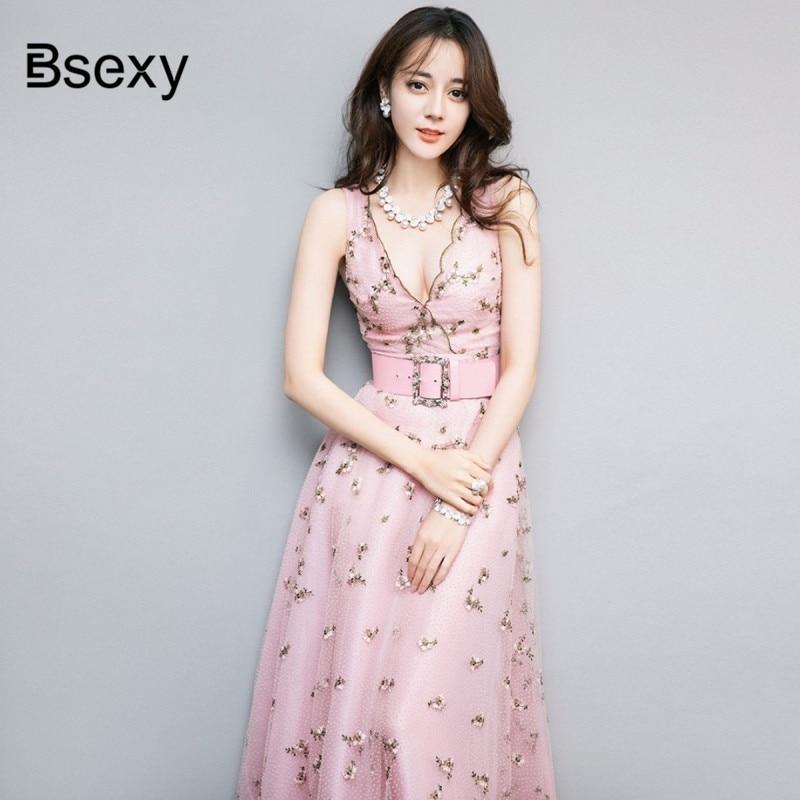 High Quality Runway Dress Women Vintage Deep V neck Sleeveless Floral Embroidery Mesh Long Dress Luxury