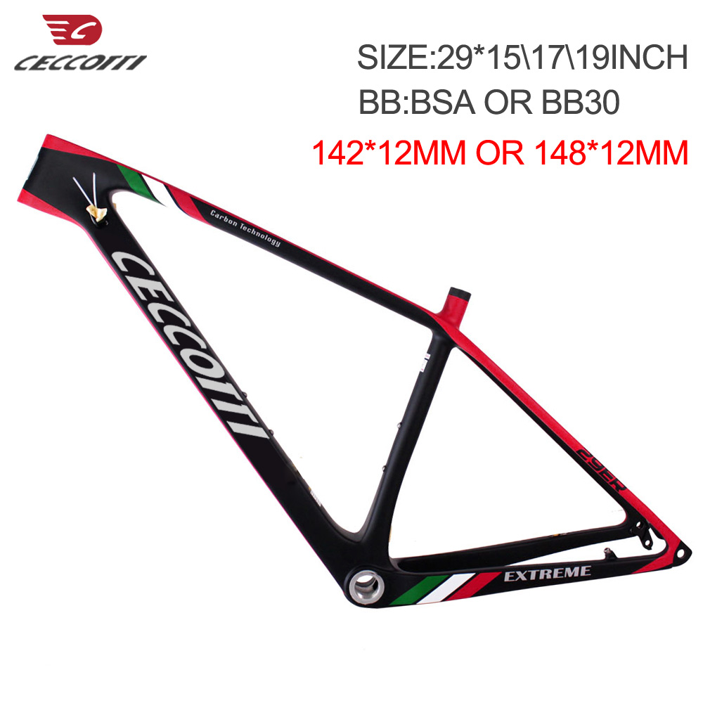 29er Carbon Frame Chinese MTB Carbon Frame 27.5 Carbon Mountain  Ceccotti Bicycle Frame 142*12mm Or 148*12mm 29er