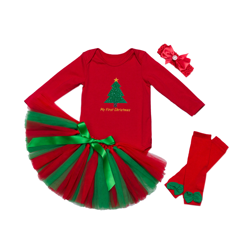 My 1st Christmas Party Sets Baby girl Tutu Cake Outfits First Xmas Gift Toddler Girls Kids Red Clothes New Year Costumes Vestido girls christmas xmas dresses kids girls princess party carnival tutu dress baby girl red new year fancy party dress up outfits
