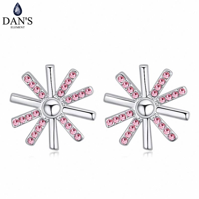 DANS 5 Colors Real Austrian crystals Stud earrings for women Earrings s New Sale Hot Round 120700