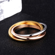 Mossovy Stainless Steel Three-ring Rose Gold Rings for Female Fashion Popular Wedding Rings for Women Jewelry Anillos Mujer(China)