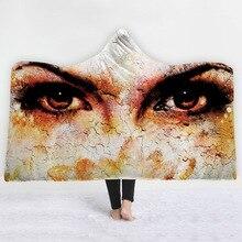 Мечтательные глаза серии печатных взрослых одеяло толстые носимых офис Nap с капюшоном Одеяло дома/путешествия пледы постельные принадлежности 150x200 см/130x150 см