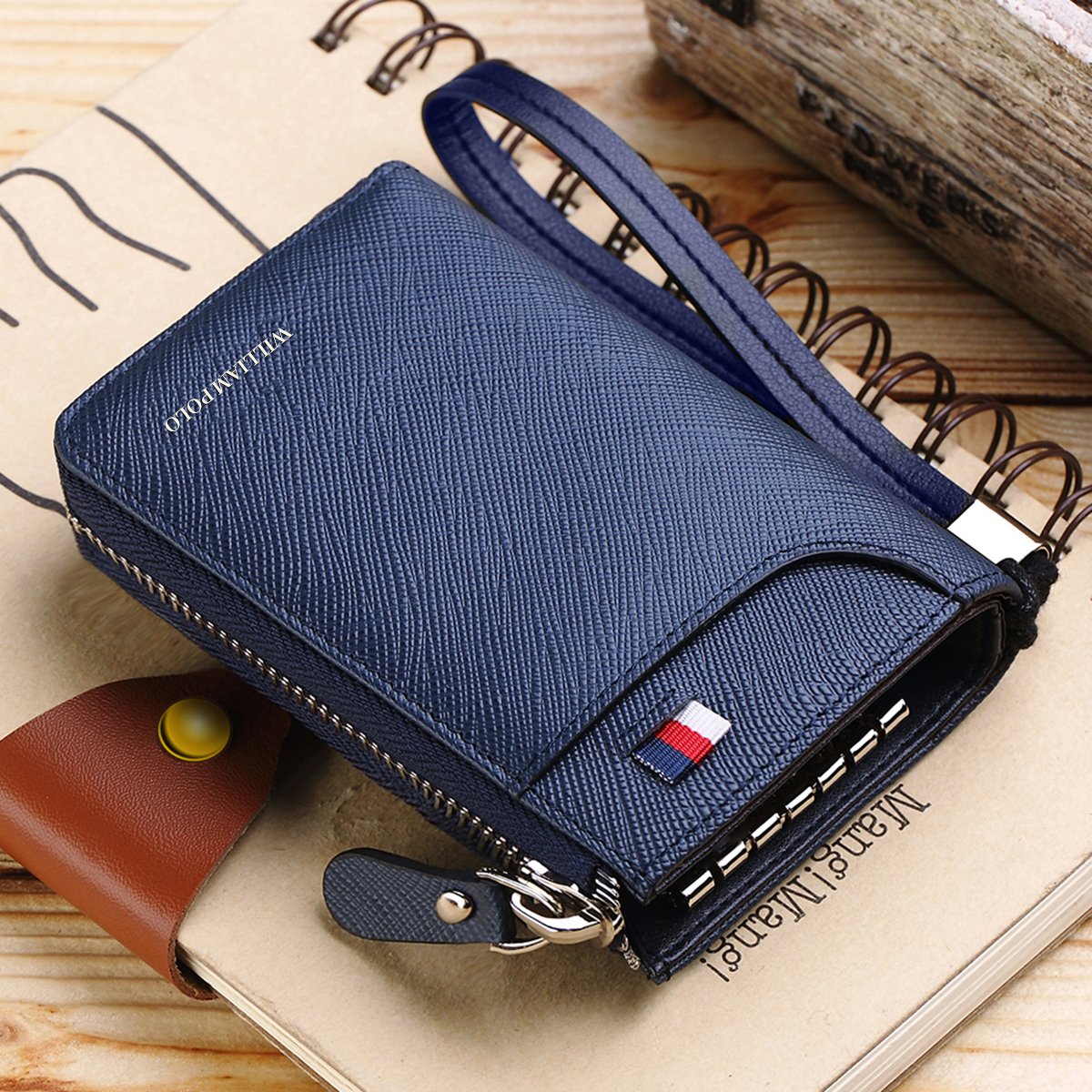 WilliamPOLO Genuine Leather Key Case Wallet Keychain Organizer Car Key Holder Credit Card Cash Purse Khaki Black Blue Claret