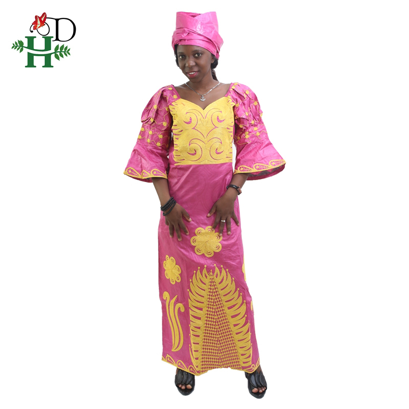 H&D All african Riche Bazin Dresses For WomenFashion Designs Bazin Riche Lady's traditional Maxi Dress Fabric Dashiki Bold lines