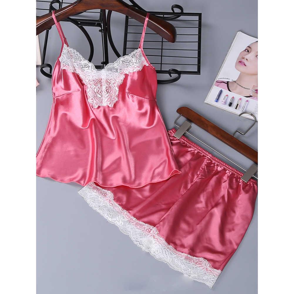 נשים ליידי הלבשה תחתונה סקסית תחרה סט Cami קצר הלבשת אלגנטי גבירותיי Nightwear pj סט לילה חליפת pyjama femme