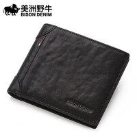 BISON DENIM Brand Men Cowhide Wallet High Quality Genuine Leather Credit Card Wallet Large Capacity