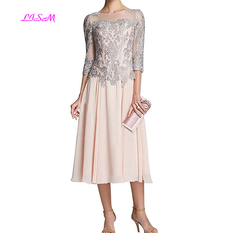 Mother Of The Bride Dresses Beaded Lace Tea Length Swing Evening Dresses 3/4 Sleeves Lace Appliques Chiffon Prom Party Gowns