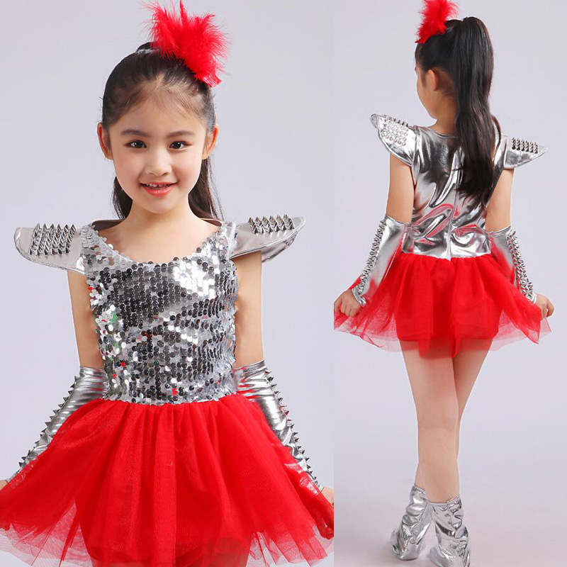 5b7aa01056 Girls Red Modern Jazz dancewear dress Costumes Kids Sequined Stage ...