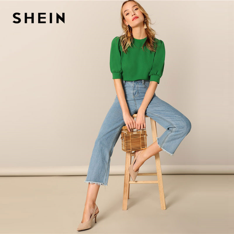 a5b7113955 🛒 [HOT SALE] | ❤ SHEIN Ladies Casual Green Puff Sleeve Keyhole Back Solid  Top And Blouse Women 2019 Summer Workwear Half Sleeve Elegant Blouses ...
