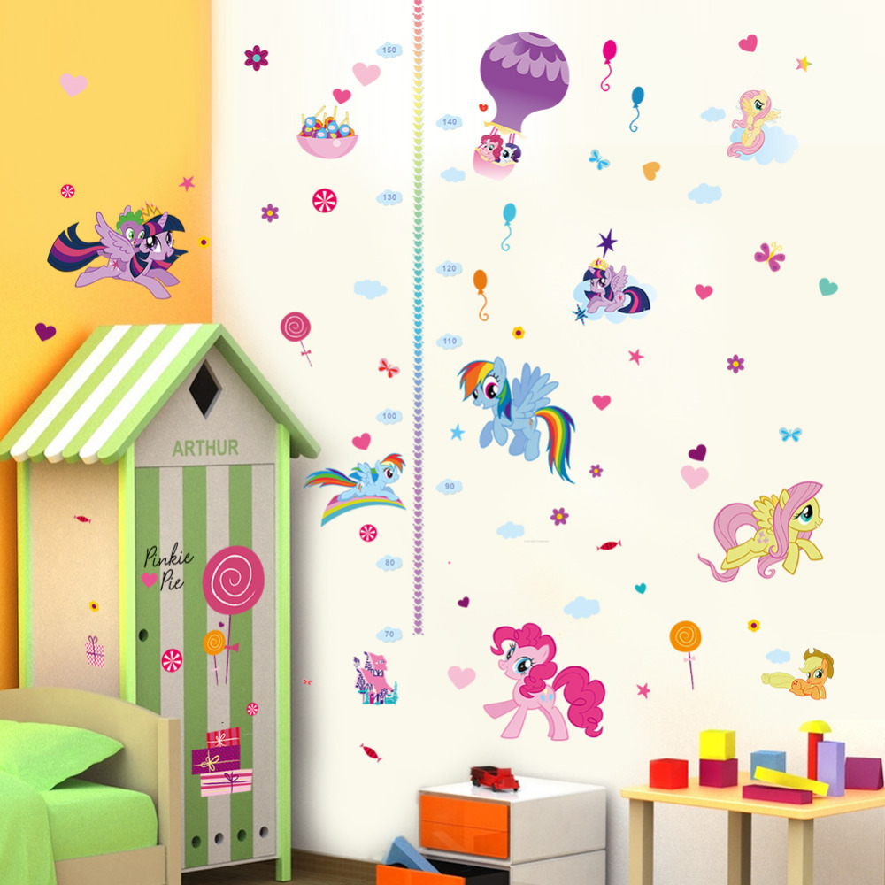 cute colorful cartoon flying horse child baby height measure growth chart wall sticker for kids room nursery girl bedroom art ...