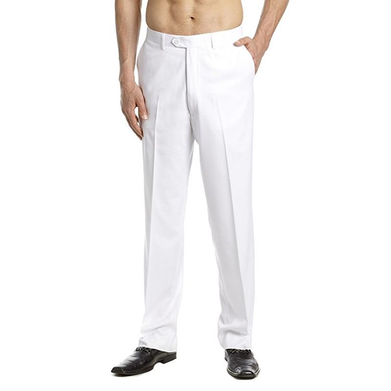 New Arrival Custom Made Mens Dress Pants Trousers Flat Front Slacks Solid WHITE Men Suit Pants Party Pants Wedding pants