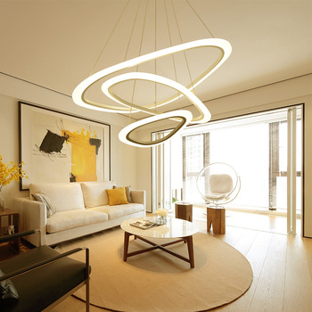 2/3/4 ring LED adjustable chandelier Living room dining room bedroom study office lighting fixtures Commercial shop lights