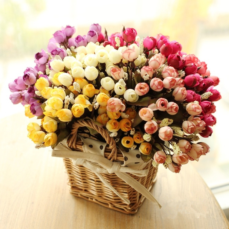 Colorful Silk Flowers Artificial Flower 15 Heads Mini Rose