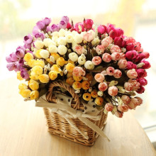 Colorful Silk Flowers artificial flower 15 heads Mini Rose Home Decor for wedding small roses bouquet