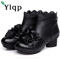 Ylqp Brand 2017 Winter Genuine Leather Boots Female Thick Mid Heels Vintage Flower Cowhide Boots Retro