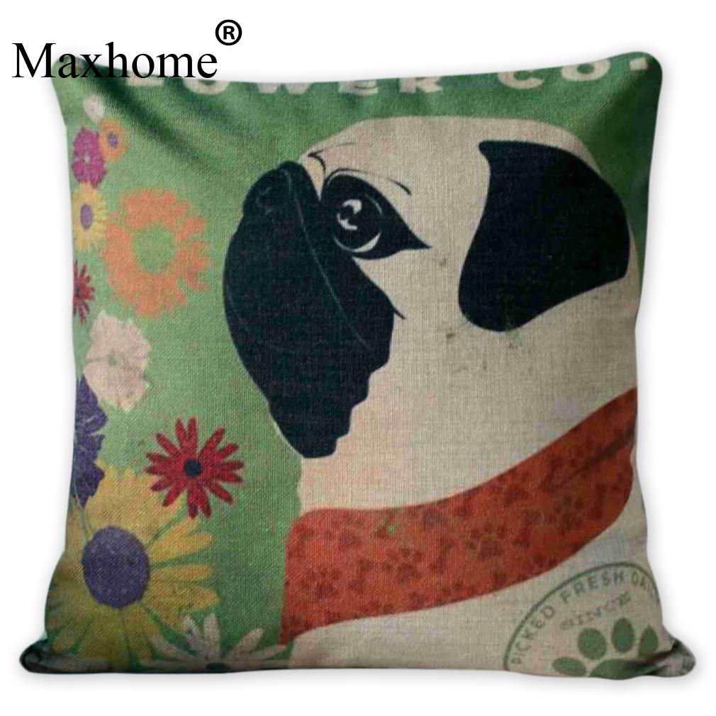 compare prices on cool decorative pillows online shoppingbuy low  - cool pug cotton linen pillowcase christmas cushion decorations pillow forhome decor sofa throw pillows