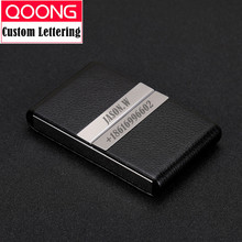 QOONG NEW Big Capacity Travel Card Wallet Leather Double Open Credit ID Holder Business Case Metal Cardholder