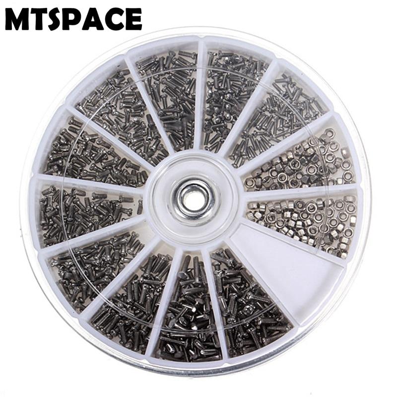 1000pcs//Set 10 Types Small Screws Nuts Assortment Kit M1 M1.2 M1.4 M1.6 M2 Tool