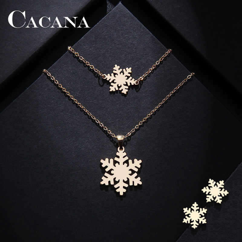 CACANA Stainless Steel Sets For Women Snow Shape Necklace Bracelet Earring Jewelry Lover's Engagement Jewelry S193
