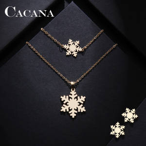 CACANA Bracelet Earring Jewelry Necklace Snow-Shape Women Stainless-Steel-Sets Lover's