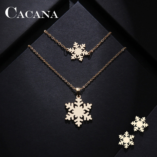 CACANA Stainless Steel Sets For Women Snow Shape Necklace Bracelet Earring Jewel
