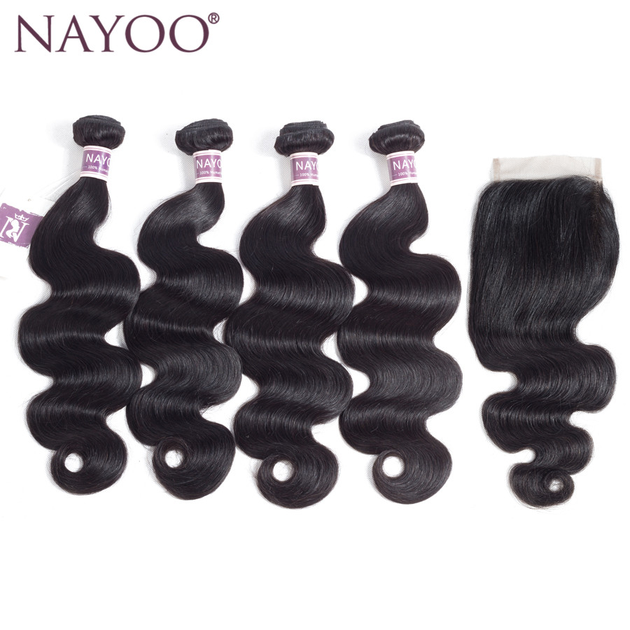 NAYOO Human Hair Bundles With Closure Free/Three/ Middle Part Body Wave Indian Hair Weave 4 Bundles With Lace Closure Non Remy