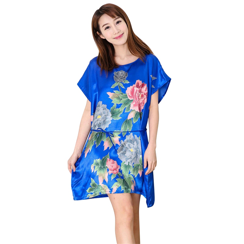 Sexy Women Sleepwear Robes Nightwear Shirt Sleep Night Dress Nightgown Ladies Fuax Silk Dresses