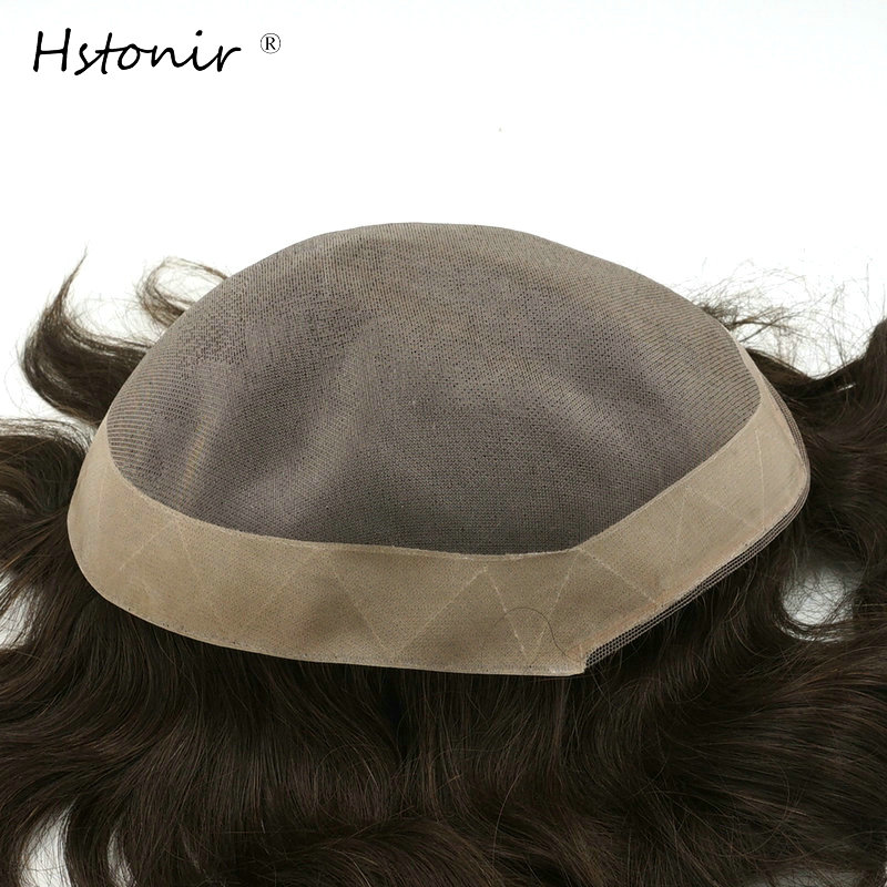 Hstonir Afra Hair Replacement Systems Mono Lace NPU Indian Remy Hair Toupee Mens Hair Piece Stock H008