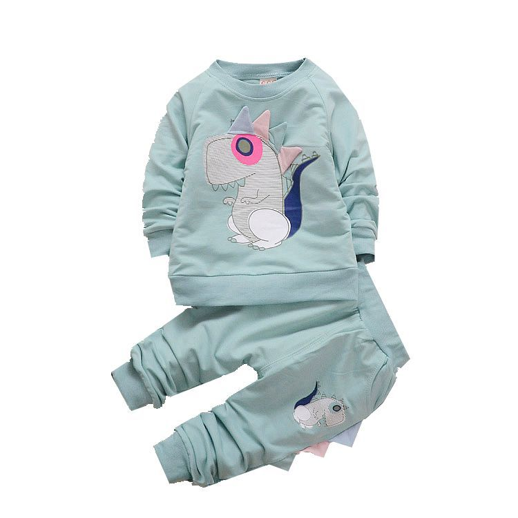 2019 new cute baby girl clothes suit cartoon dinosaur printing sweatshirt pants 2 set of Kids autumn winter fashion clothing set in Clothing Sets from Mother Kids
