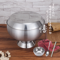 Stainless steel buddha food bowl buddhist monk tableware Thailand monks should measure the feet bowl