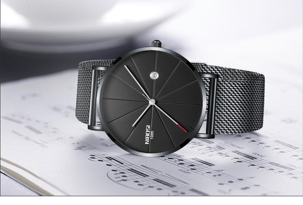 NIBOSI watch men black quartz wristwatches stainless steel mesh brand  watches men ultra thin quartz relogio masculino dourado (14)