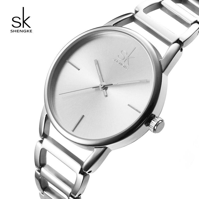 ad5eca0df1c Shengke Moda Relógios Mulheres Marca de Luxo de Aço Inoxidável Senhoras  Relógio de Quartzo Mulheres Pulseira De Prata Relógios Reloj Mujer 2019 SK