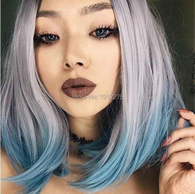 New Fashion Heat Resistant Fiber Hair With Dark Roots Silver Grey/Light Green Ombre Short Bob Wig Synthetic Lace Front Wigs