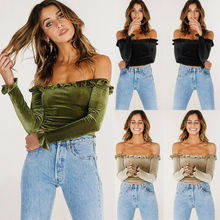 Womens Sexy Bandeau Off Shoulder Top Long Sleeve Frill Tops T Shirt open shoulder frill trim crinkle top